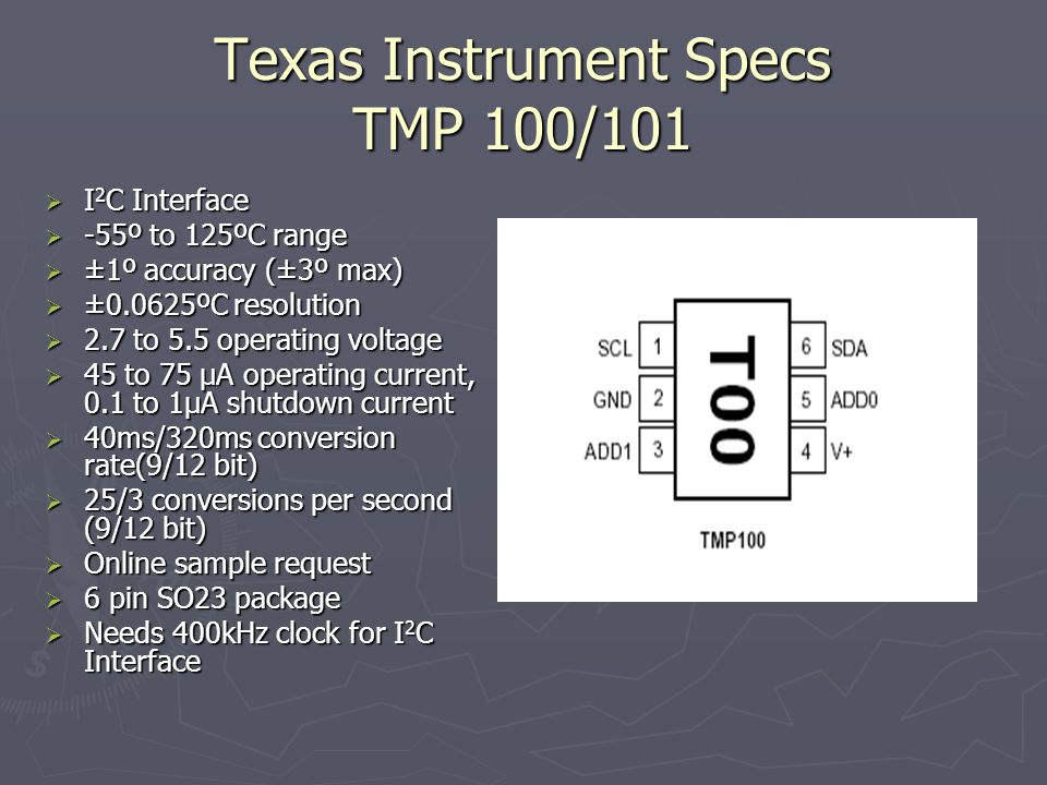 Texas Instrument Specs TMP 100/101