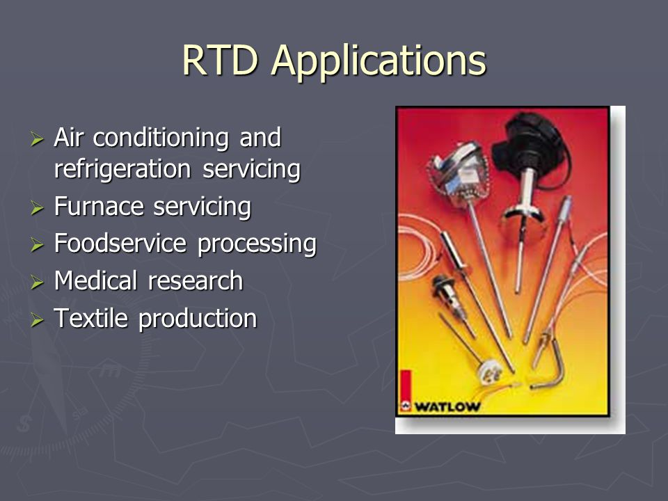 RTD Applications Air conditioning and refrigeration servicing