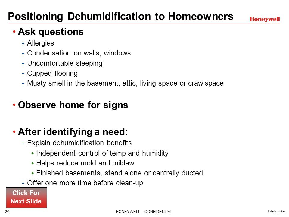 Positioning Dehumidification to Homeowners
