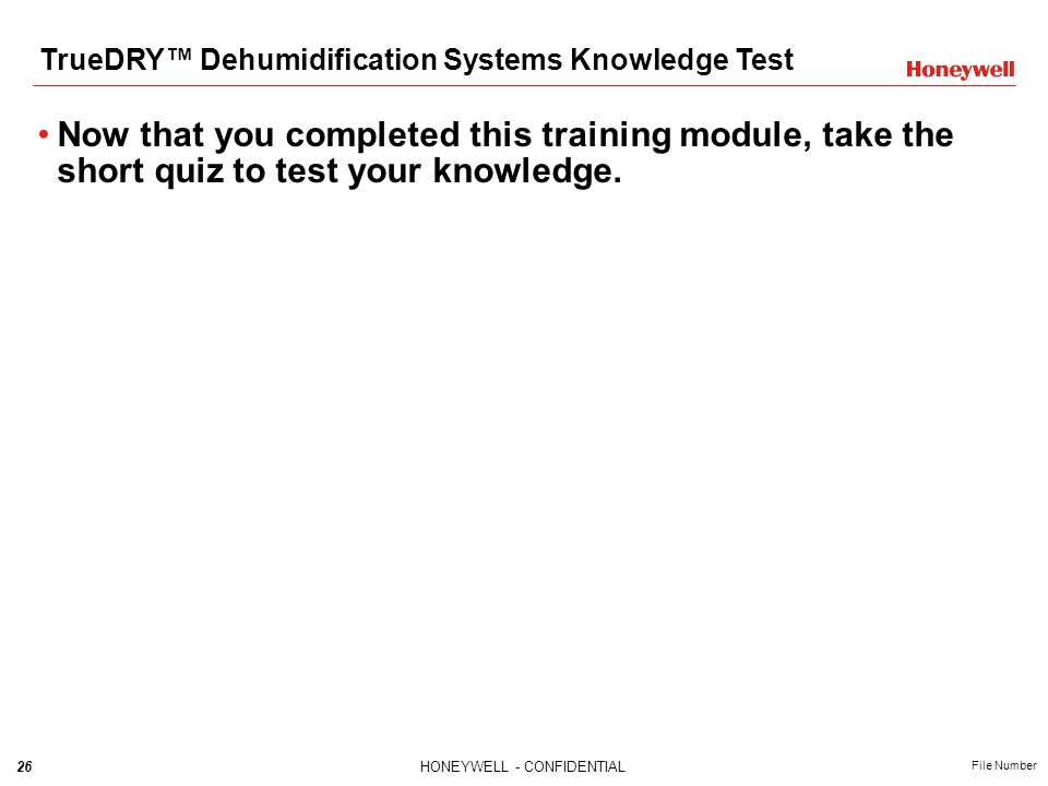 TrueDRY™ Dehumidification Systems Knowledge Test