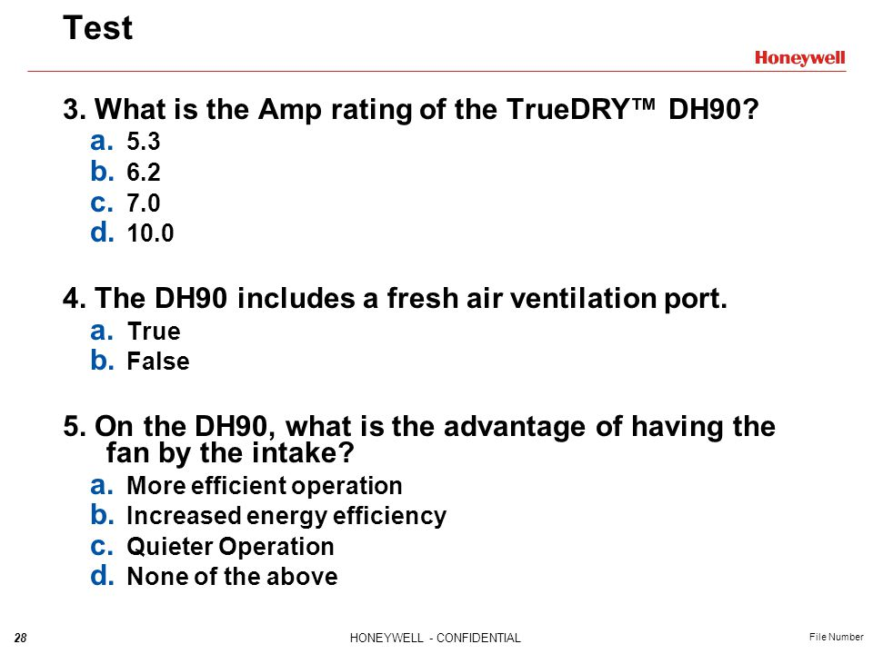 Test 3. What is the Amp rating of the TrueDRY™ DH90