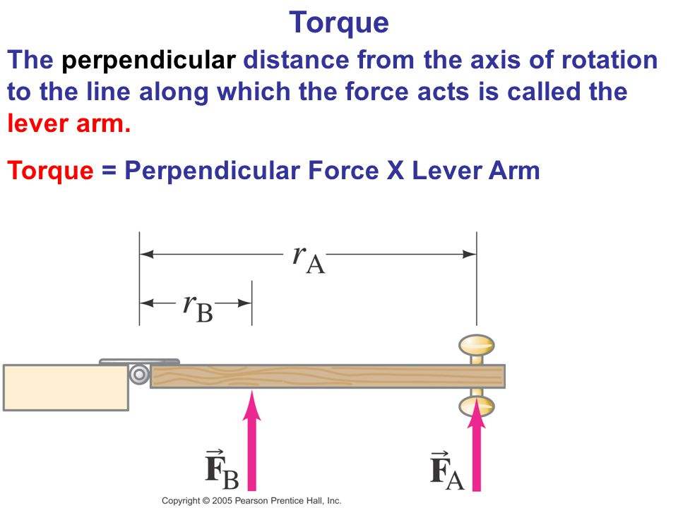 Torque The perpendicular distance from the axis of rotation to the line along which the force acts is called the lever arm.