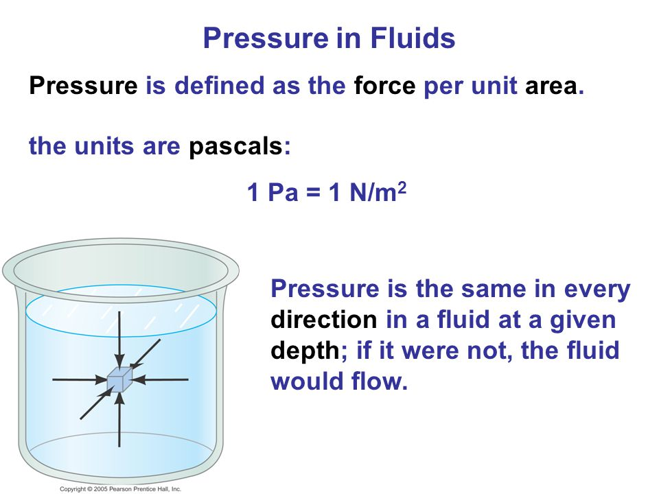 Pressure in Fluids Pressure is defined as the force per unit area.