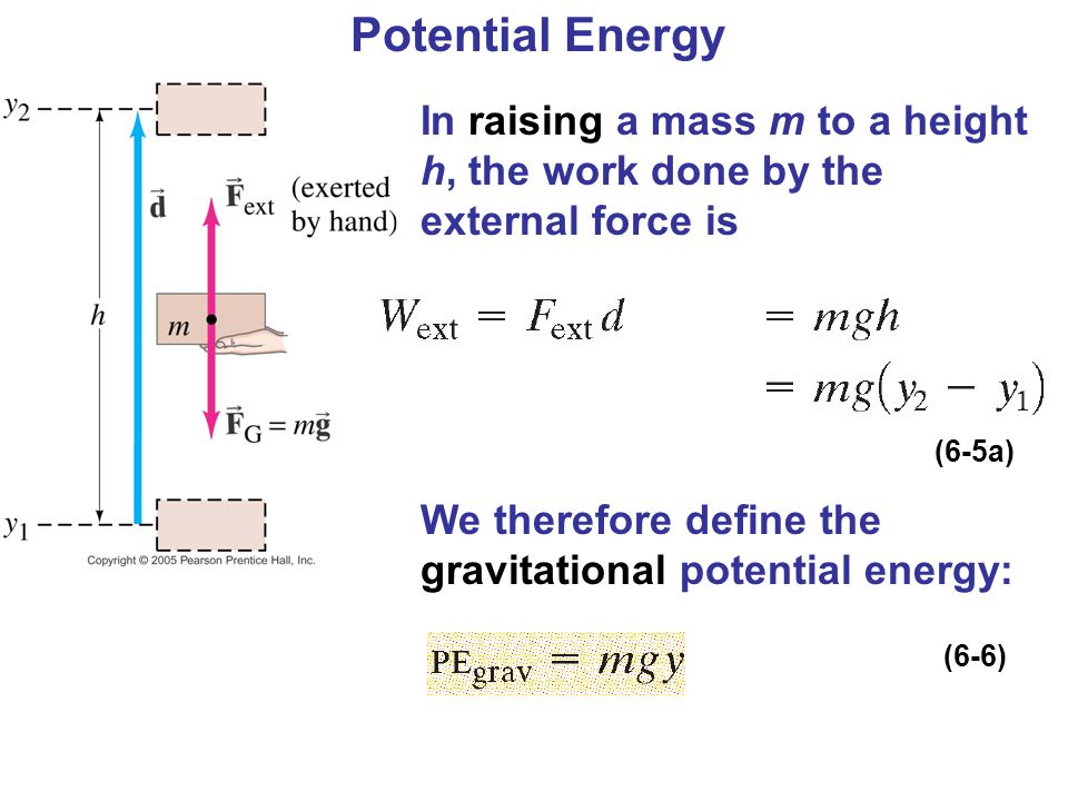 Potential Energy In raising a mass m to a height h, the work done by the external force is. We therefore define the gravitational potential energy: