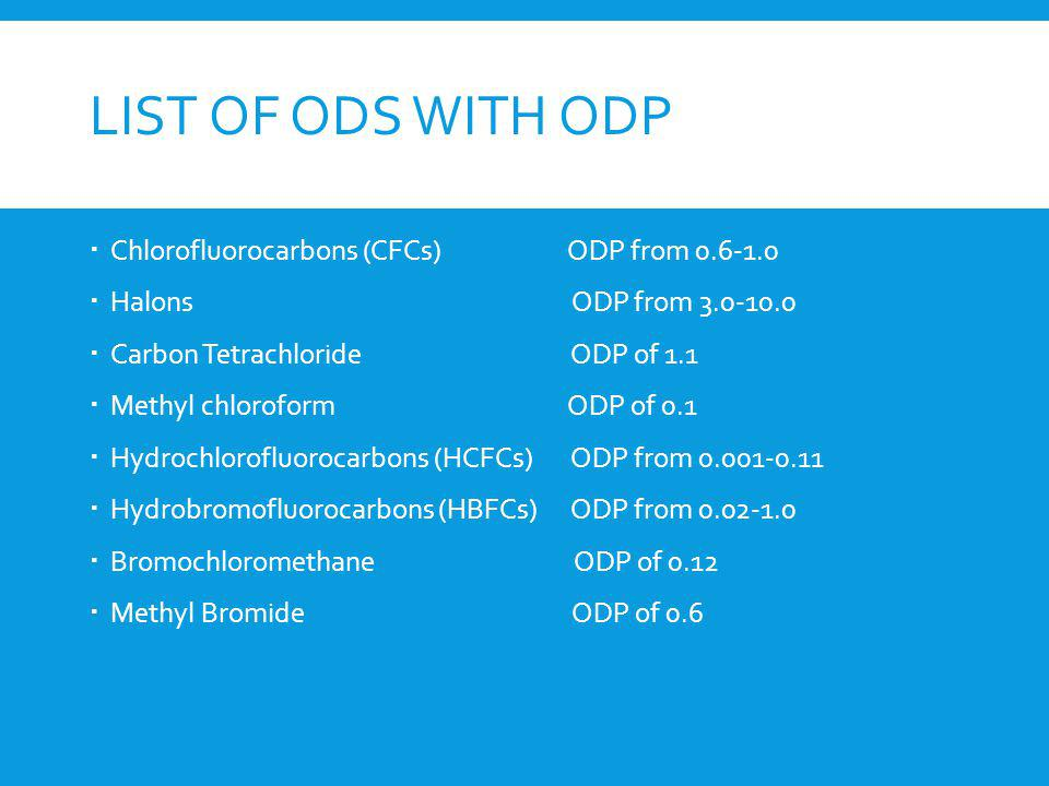 List of ODS with ODP Chlorofluorocarbons (CFCs) ODP from 0.6-1.0