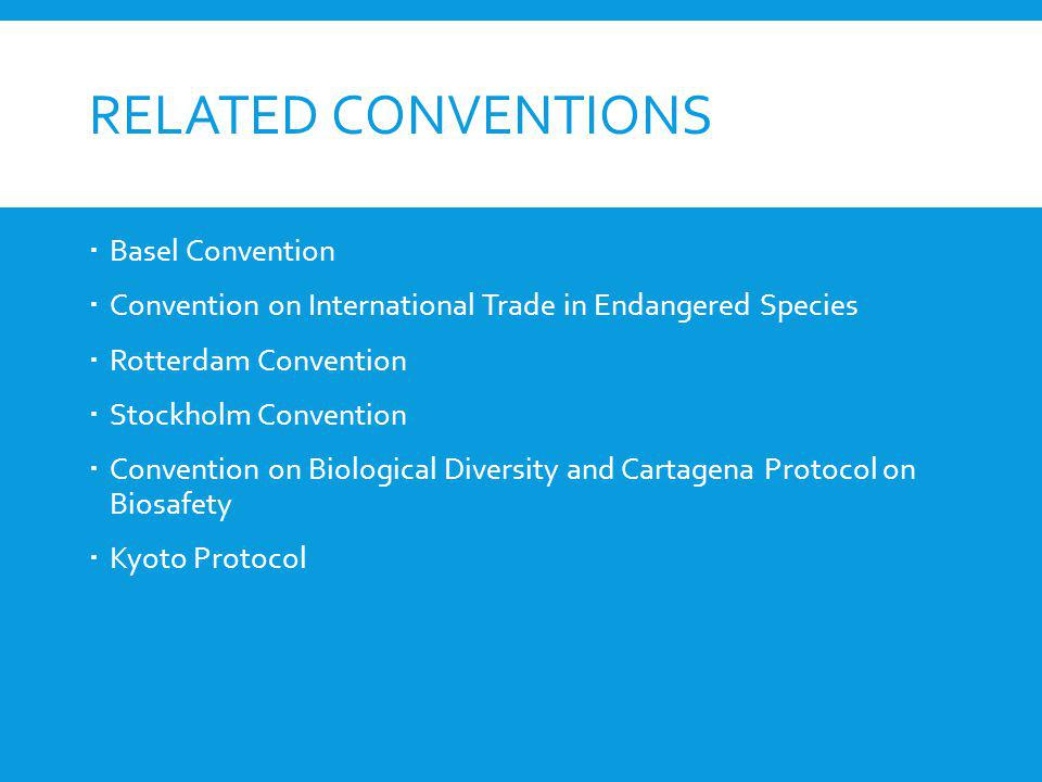 Related Conventions Basel Convention