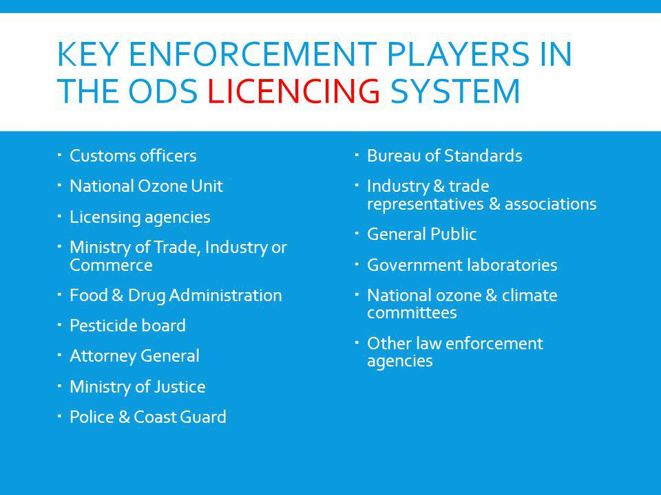 Key enforcement players in the ODS licencing system