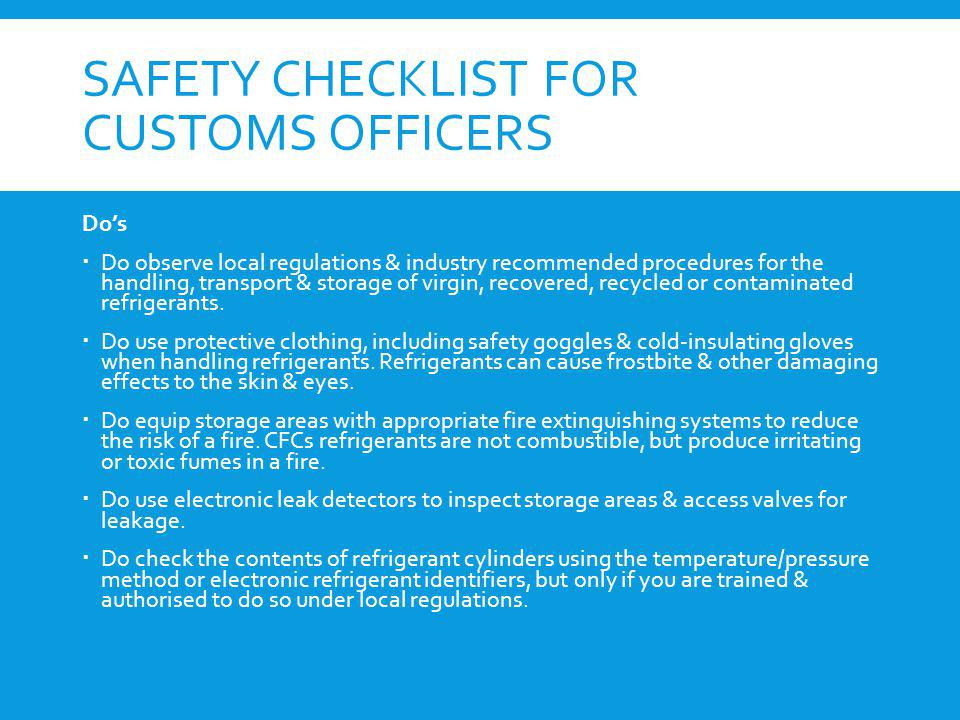 Safety checklist for customs officers
