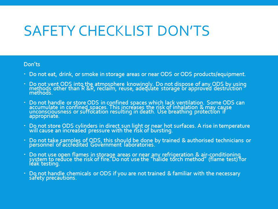 Safety checklist don'ts