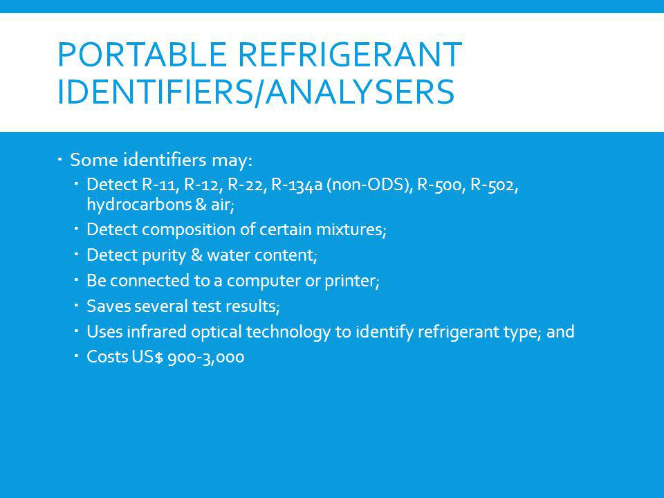 Portable refrigerant identifiers/analysers