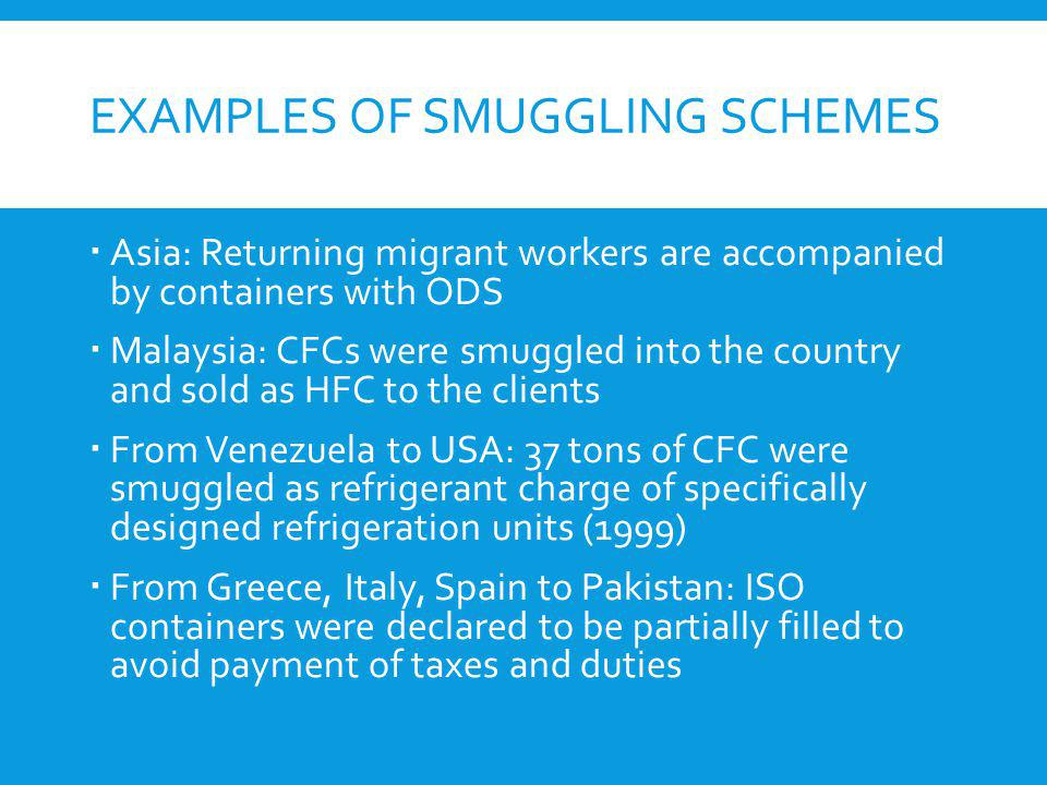 Examples of smuggling schemes