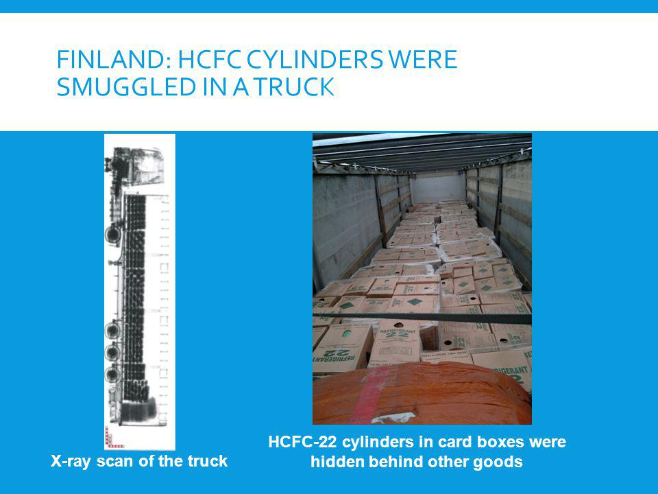 Finland: HCFC cylinders were smuggled in a truck