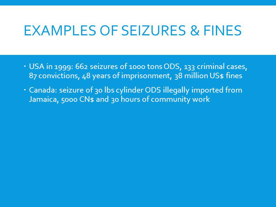 Examples of Seizures & Fines