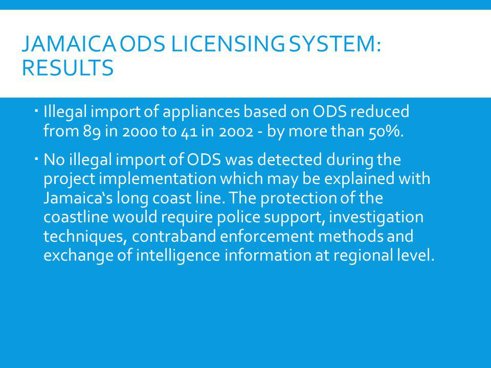 Jamaica ODS Licensing System: Results