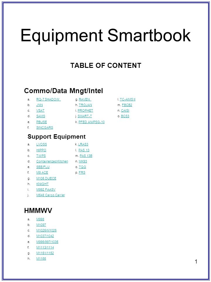 Equipment Smartbook TABLE OF CONTENT Commo/Data Mngt/Intel HMMWV