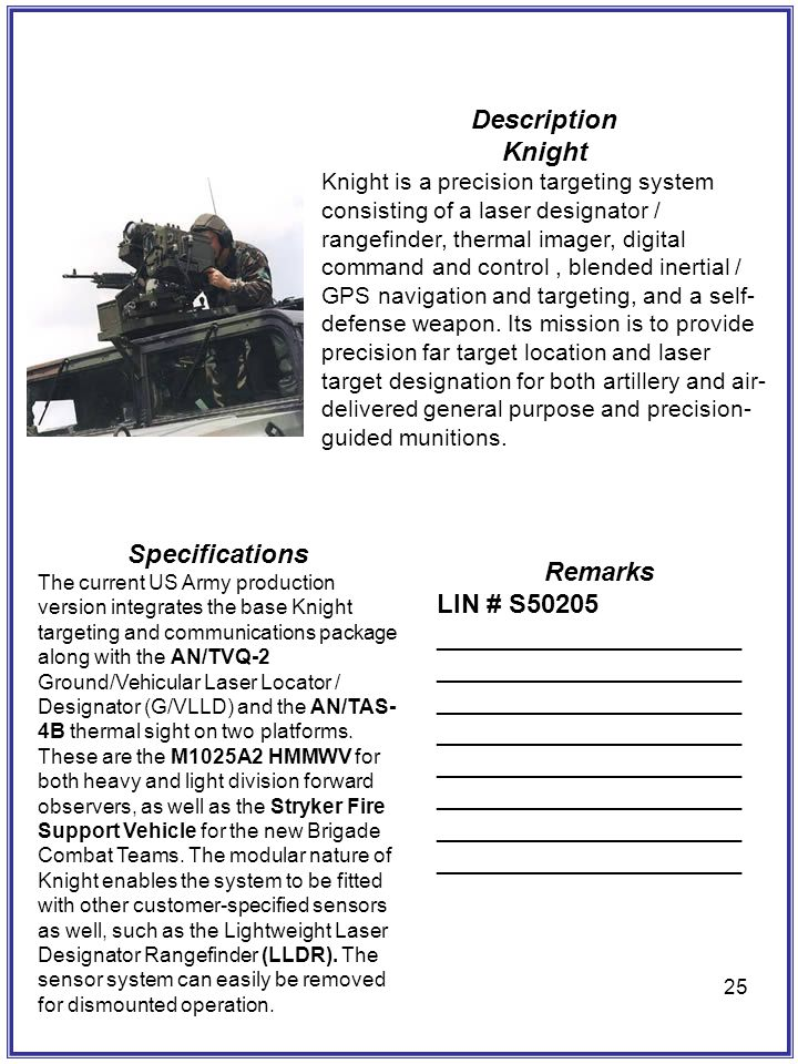 Description Knight Specifications Remarks