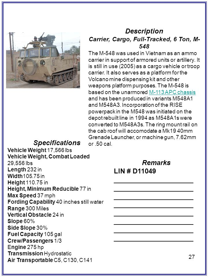 Carrier, Cargo, Full-Tracked, 6 Ton, M-548