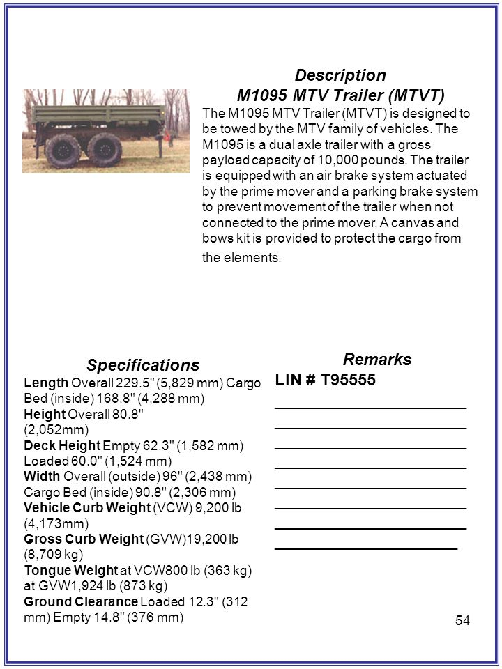 Description M1095 MTV Trailer (MTVT) Remarks Specifications