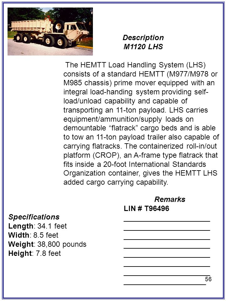 Description M1120 LHS Remarks