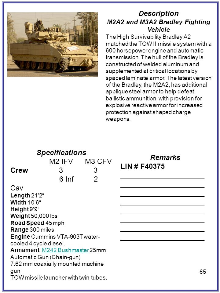M2A2 and M3A2 Bradley Fighting Vehicle