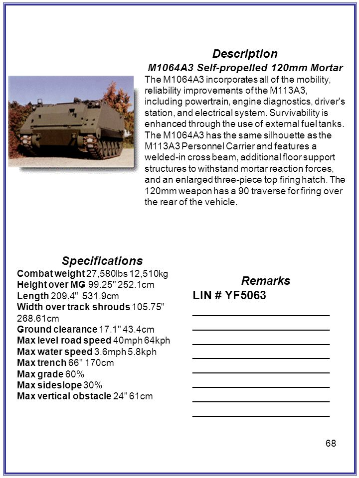 M1064A3 Self-propelled 120mm Mortar