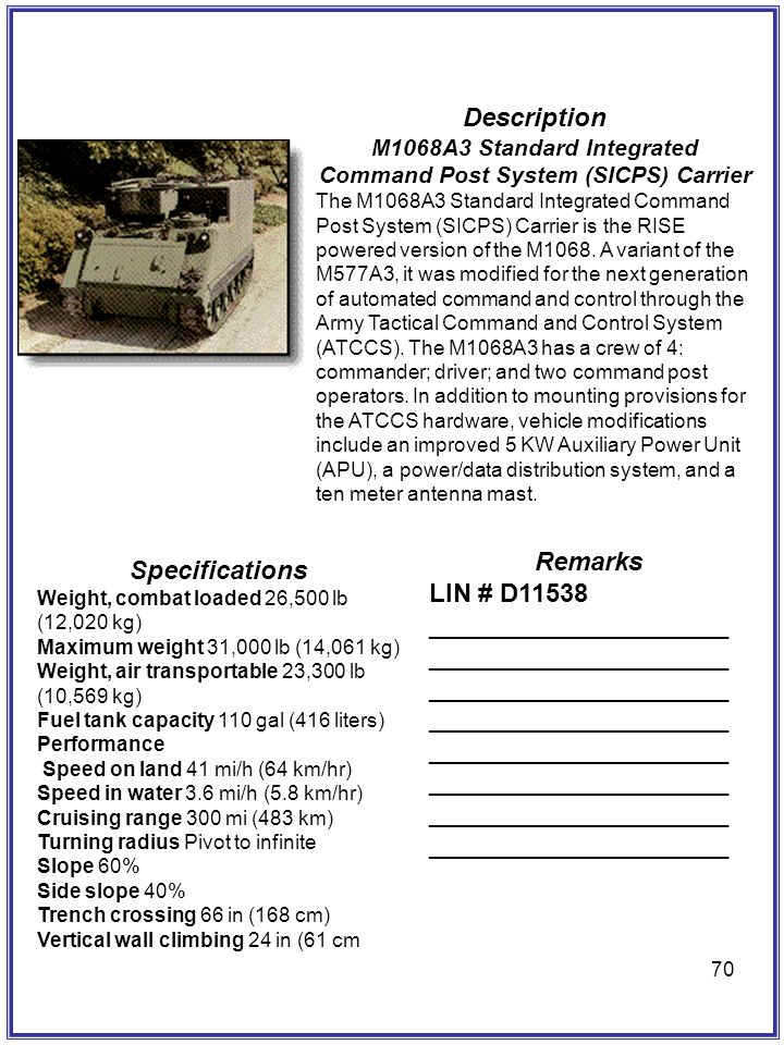 M1068A3 Standard Integrated Command Post System (SICPS) Carrier