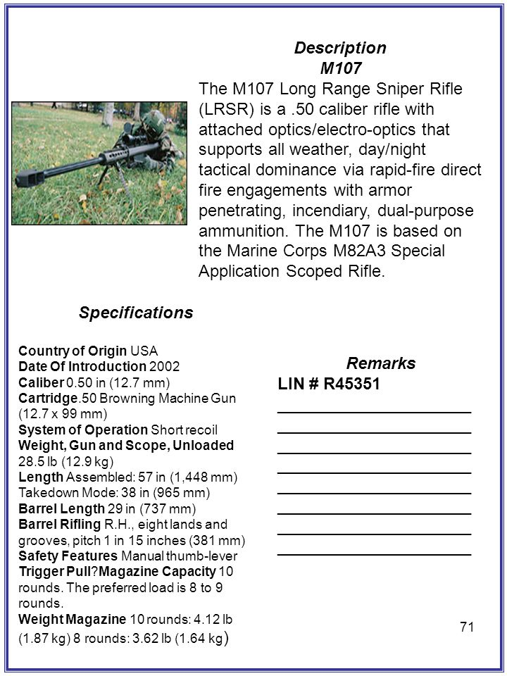 Description M107 Specifications Remarks