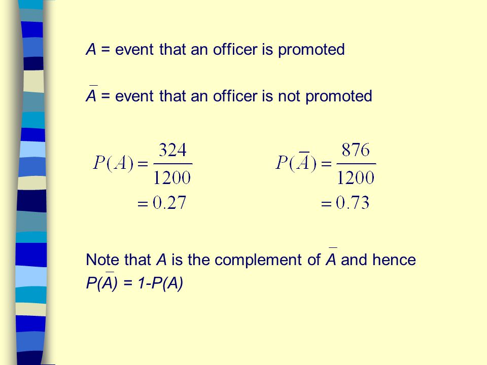 A = event that an officer is promoted