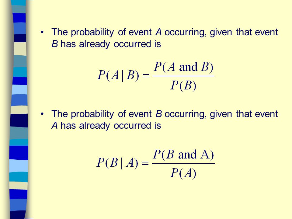 The probability of event A occurring, given that event B has already occurred is