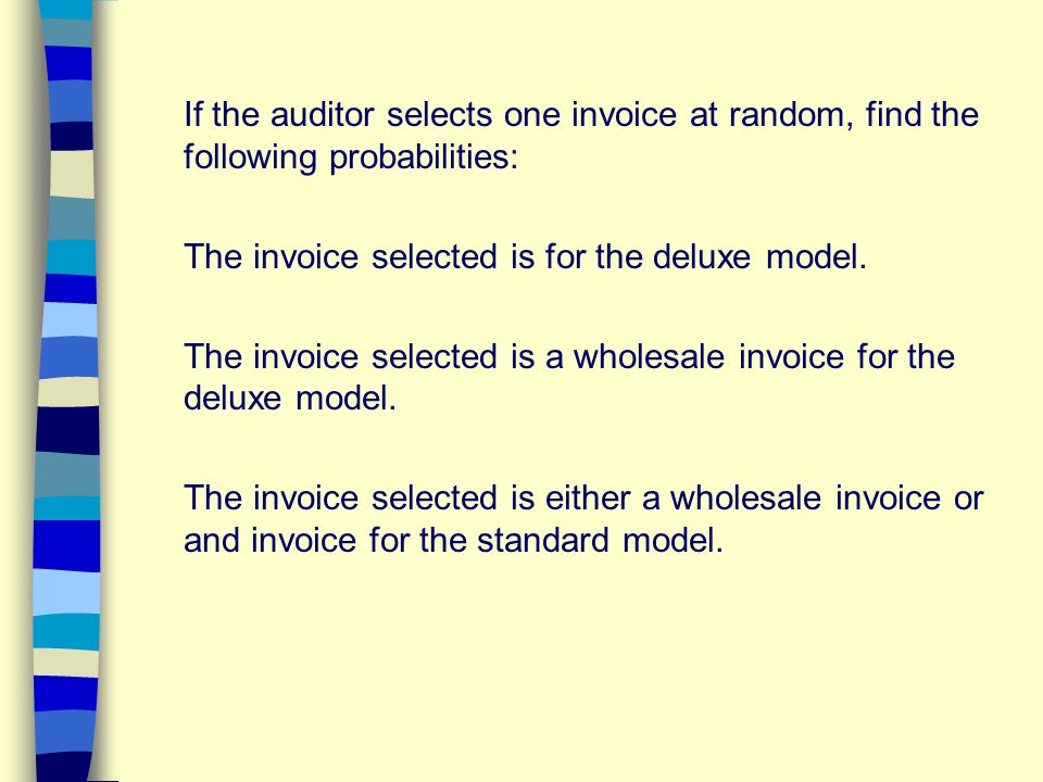 If the auditor selects one invoice at random, find the following probabilities: