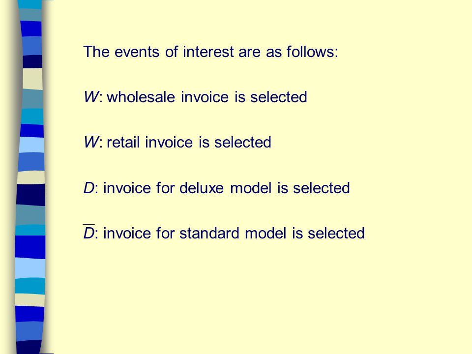 The events of interest are as follows: