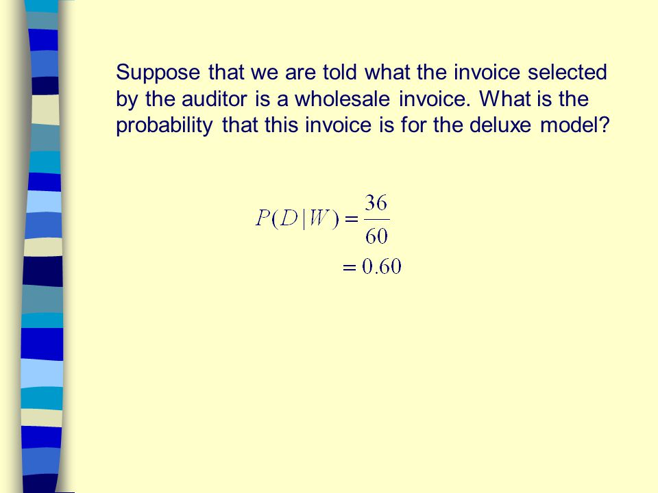 Suppose that we are told what the invoice selected by the auditor is a wholesale invoice.