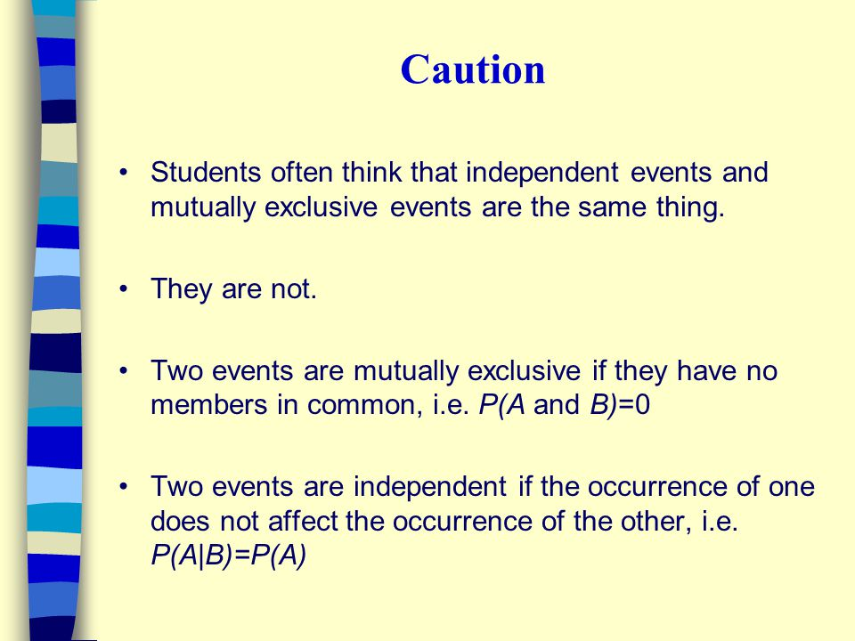 Caution Students often think that independent events and mutually exclusive events are the same thing.
