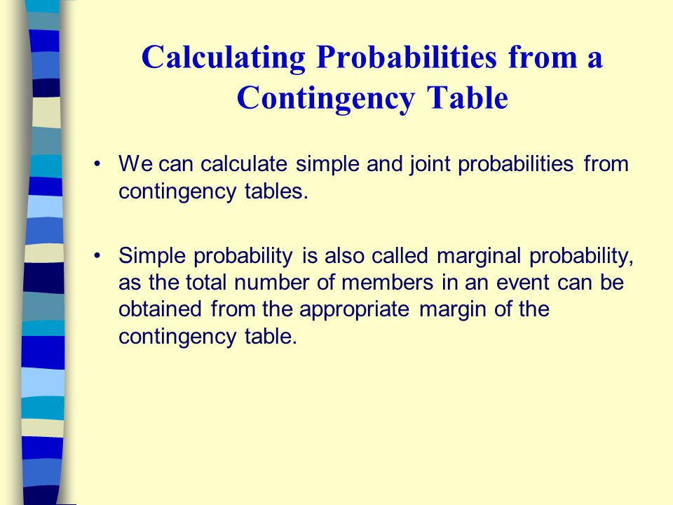Calculating Probabilities from a Contingency Table