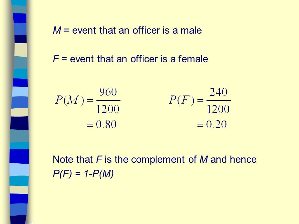 M = event that an officer is a male