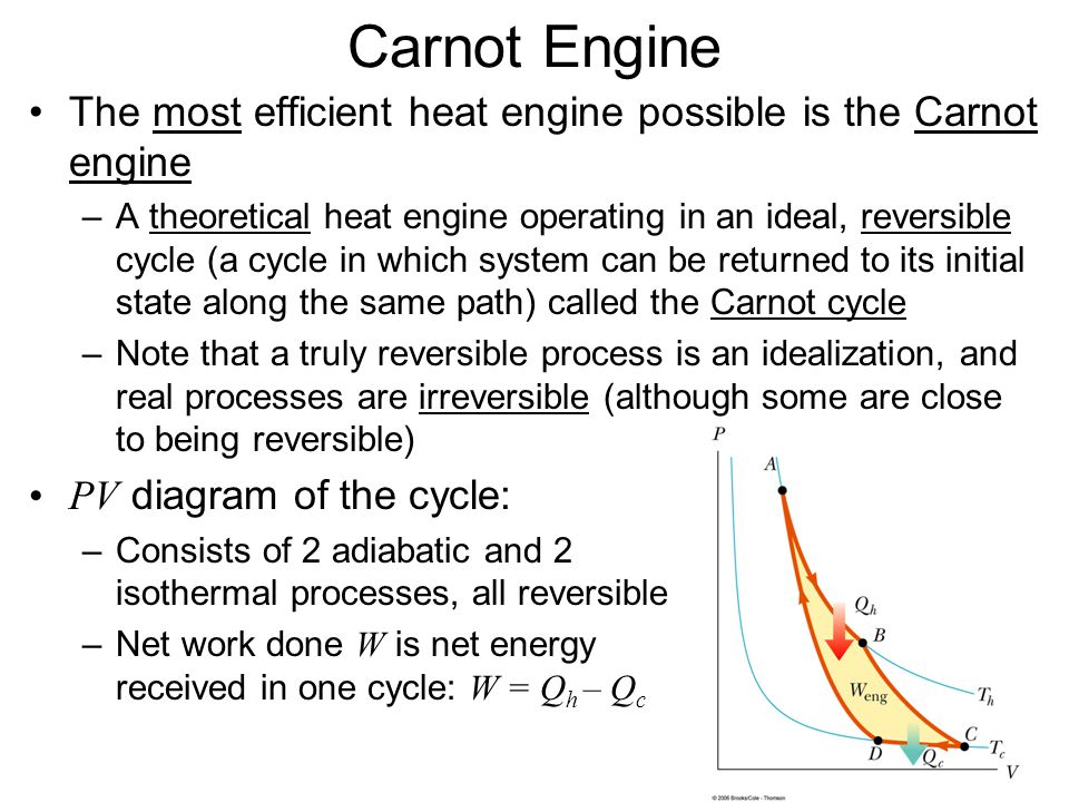 Carnot Engine The most efficient heat engine possible is the Carnot engine.