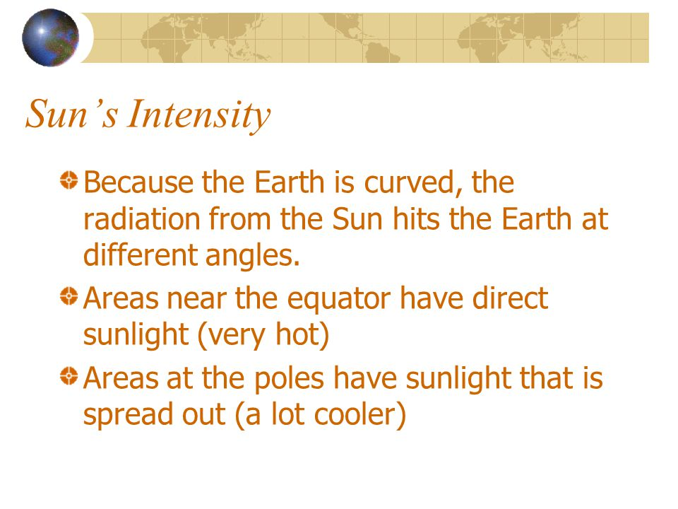 Sun's Intensity Because the Earth is curved, the radiation from the Sun hits the Earth at different angles.