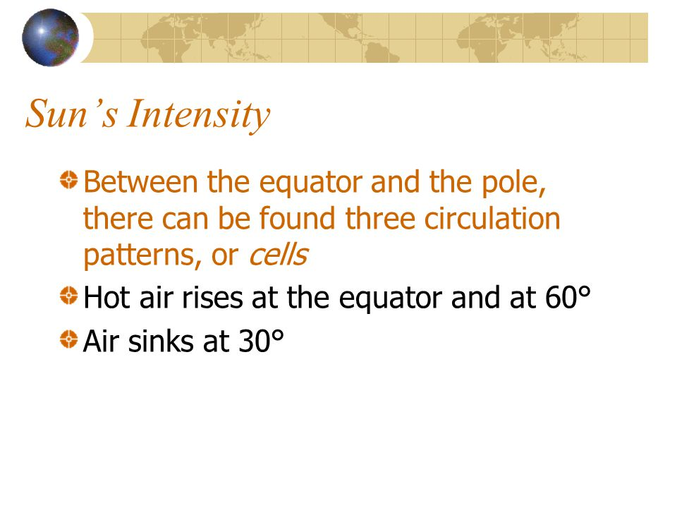 Sun's Intensity Between the equator and the pole, there can be found three circulation patterns, or cells.