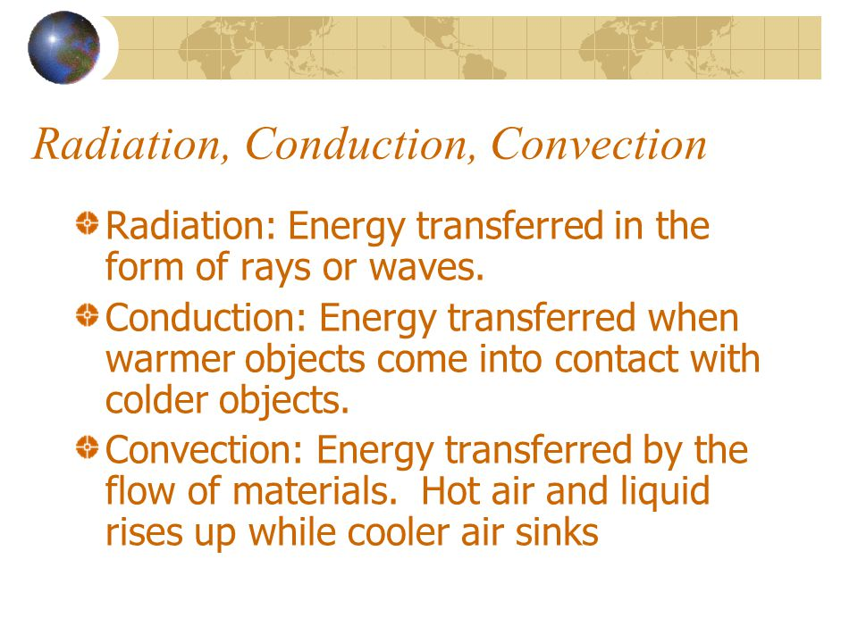Radiation, Conduction, Convection
