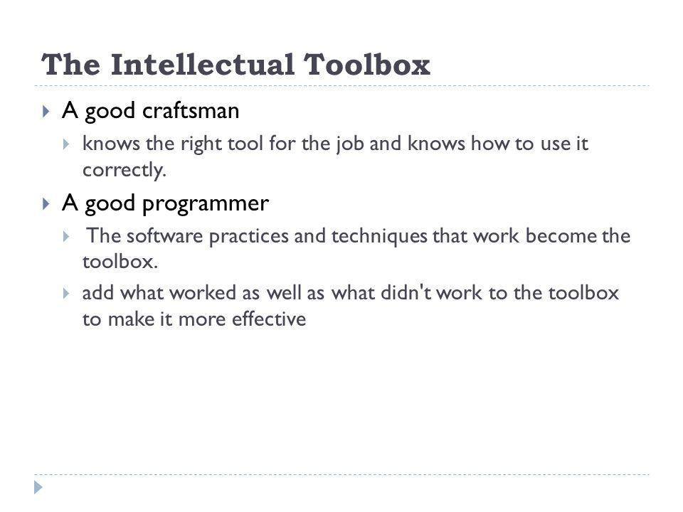 The Intellectual Toolbox