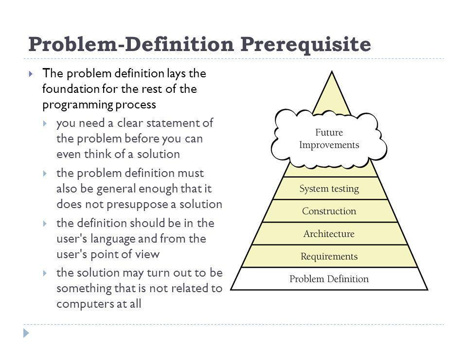 Problem-Definition Prerequisite