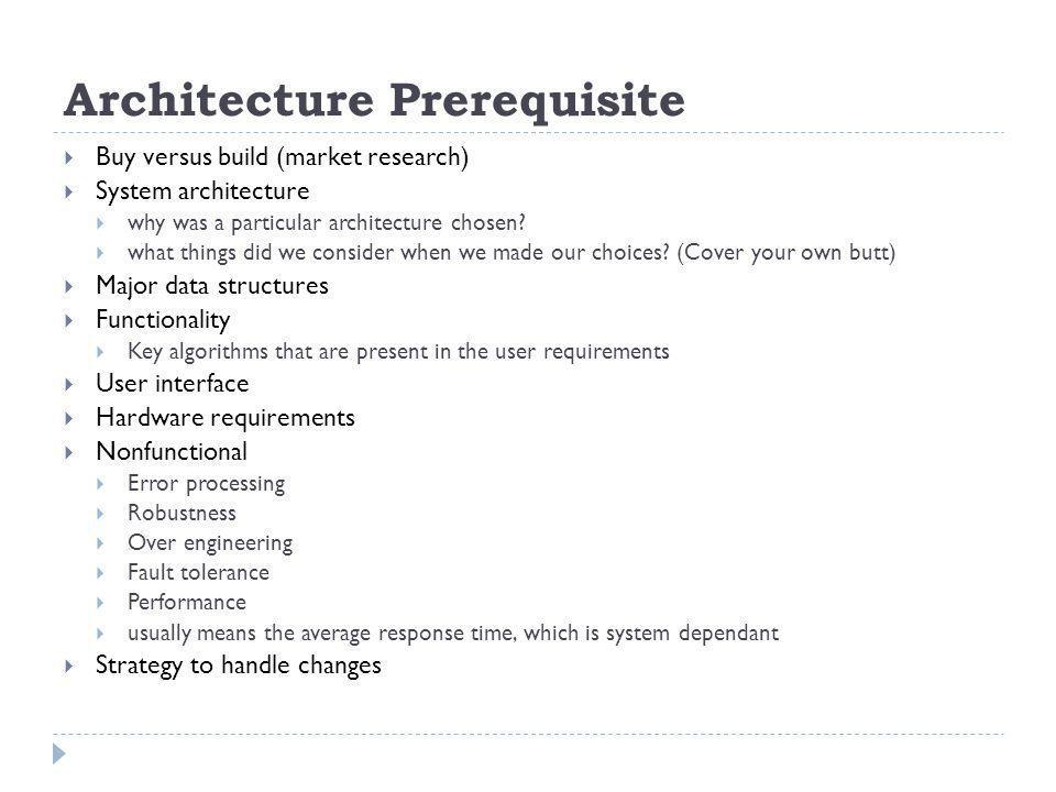 Architecture Prerequisite