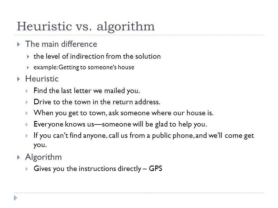 Heuristic vs. algorithm