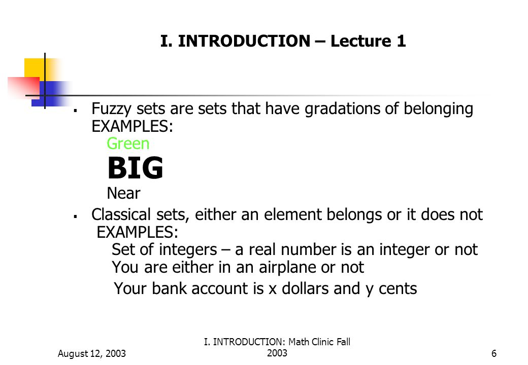 I. INTRODUCTION – Lecture 1