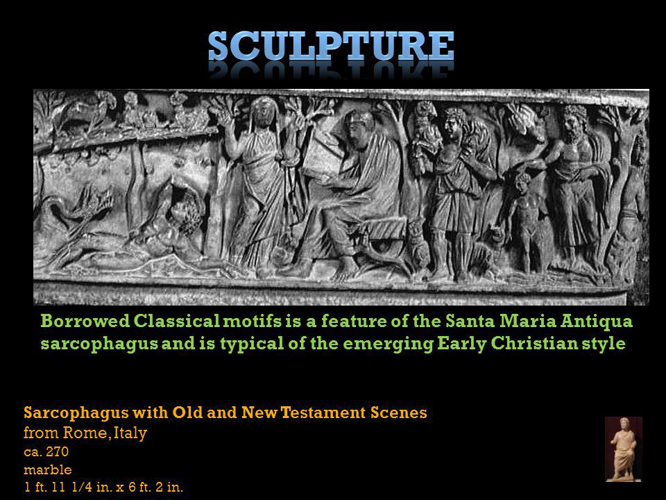 Sculpture Borrowed Classical motifs is a feature of the Santa Maria Antiqua sarcophagus and is typical of the emerging Early Christian style.