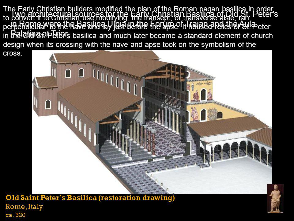 The Early Christian builders modified the plan of the Roman pagan basilica in order to convert it to Christian use modifying the transept, or transverse aisle, ran perpendicular to the nave and lay just before the apse. It housed relics of St. Peter in the Old St. Peter's basilica and much later became a standard element of church design when its crossing with the nave and apse took on the symbolism of the cross.