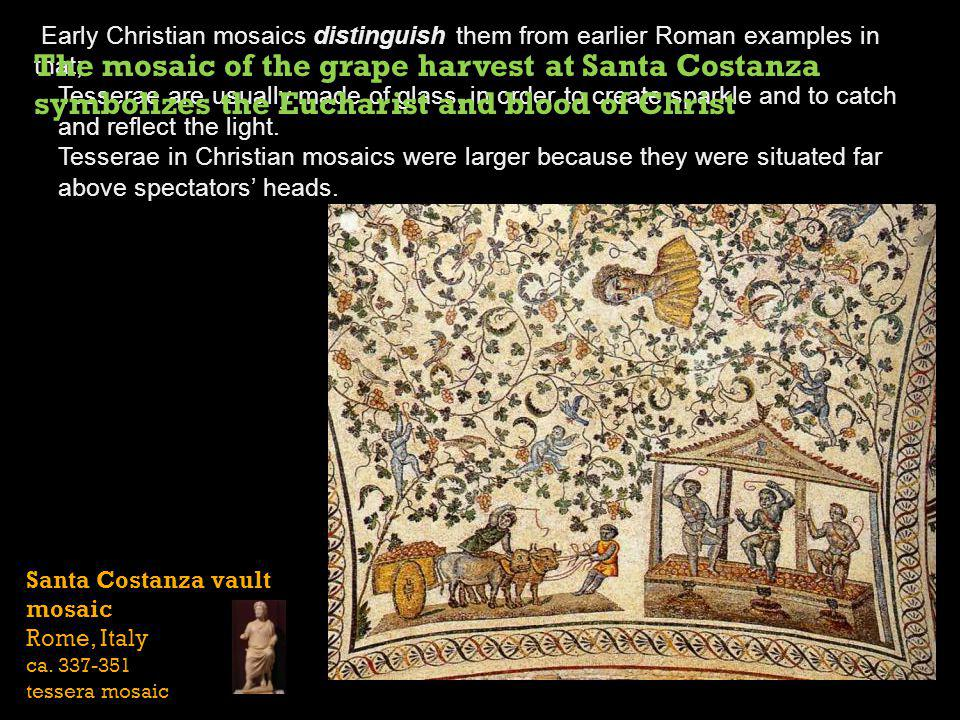 Early Christian mosaics distinguish them from earlier Roman examples in that;