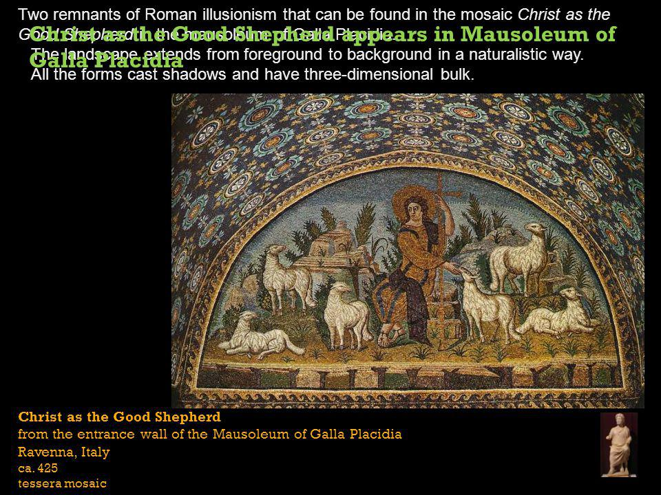 Christ as the Good Shepherd appears in Mausoleum of Galla Placidia