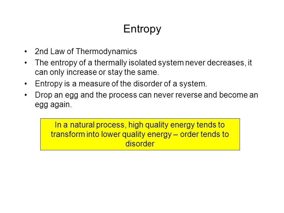 Entropy 2nd Law of Thermodynamics