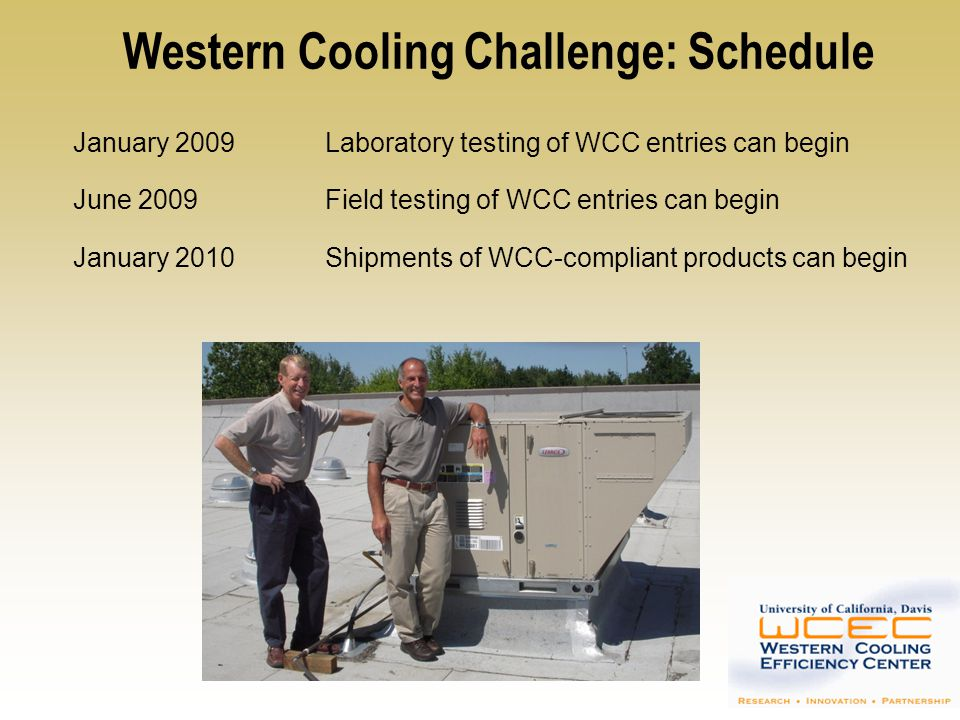 Western Cooling Challenge: Schedule